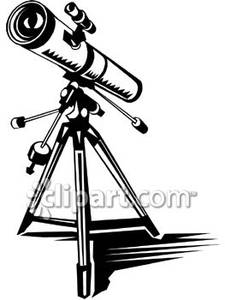 Realistic Black and White Telescope.