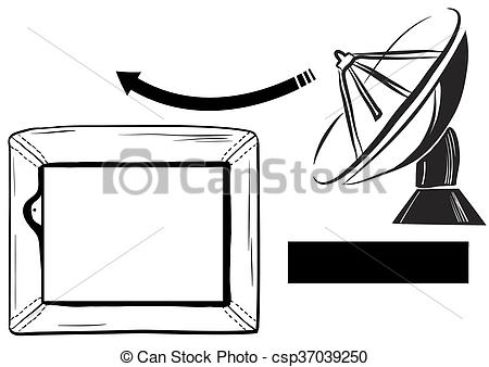 Stock Illustrations of A TV reception satellite dish and TV.