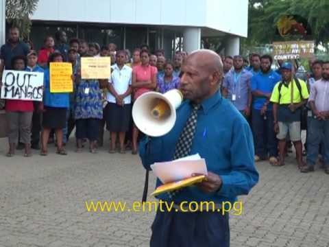 Telikom PNG staged stop work protest.