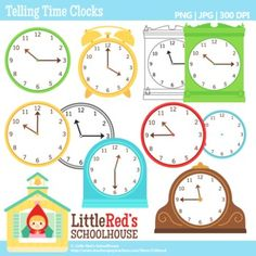 Clip Art: Telling Time Clocks.