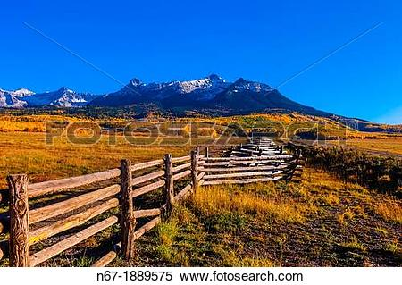 Stock Image of Fence line, Last Dollar Ranch, Last Dollar Road.