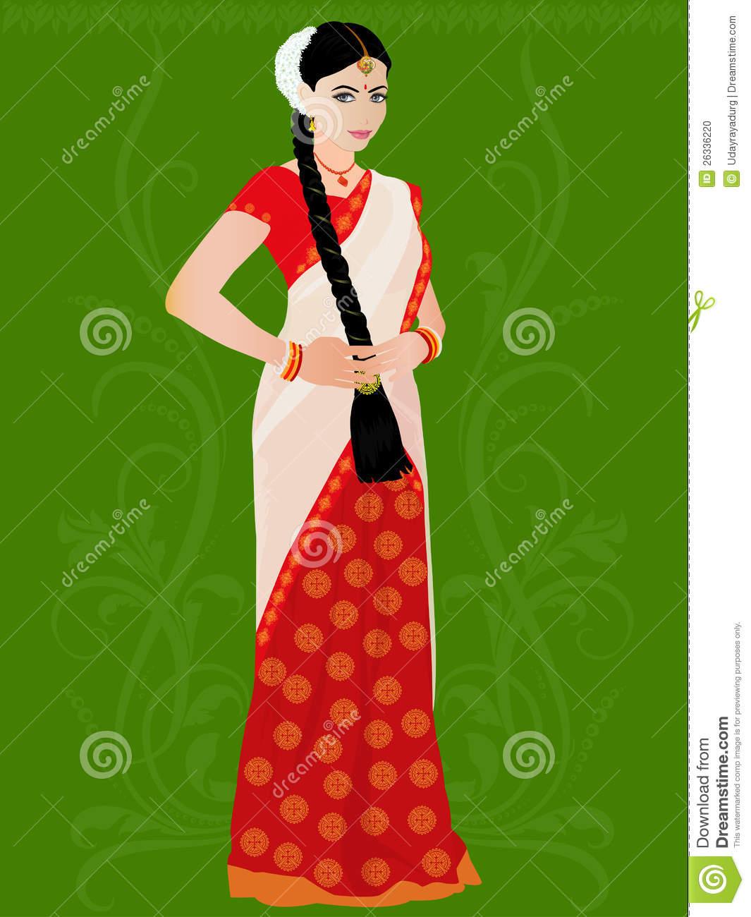 Illustration Of Telugu Girl Stock Photo.