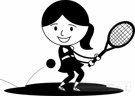 Black White Hitting Tennis Ball With Back Handclipart.
