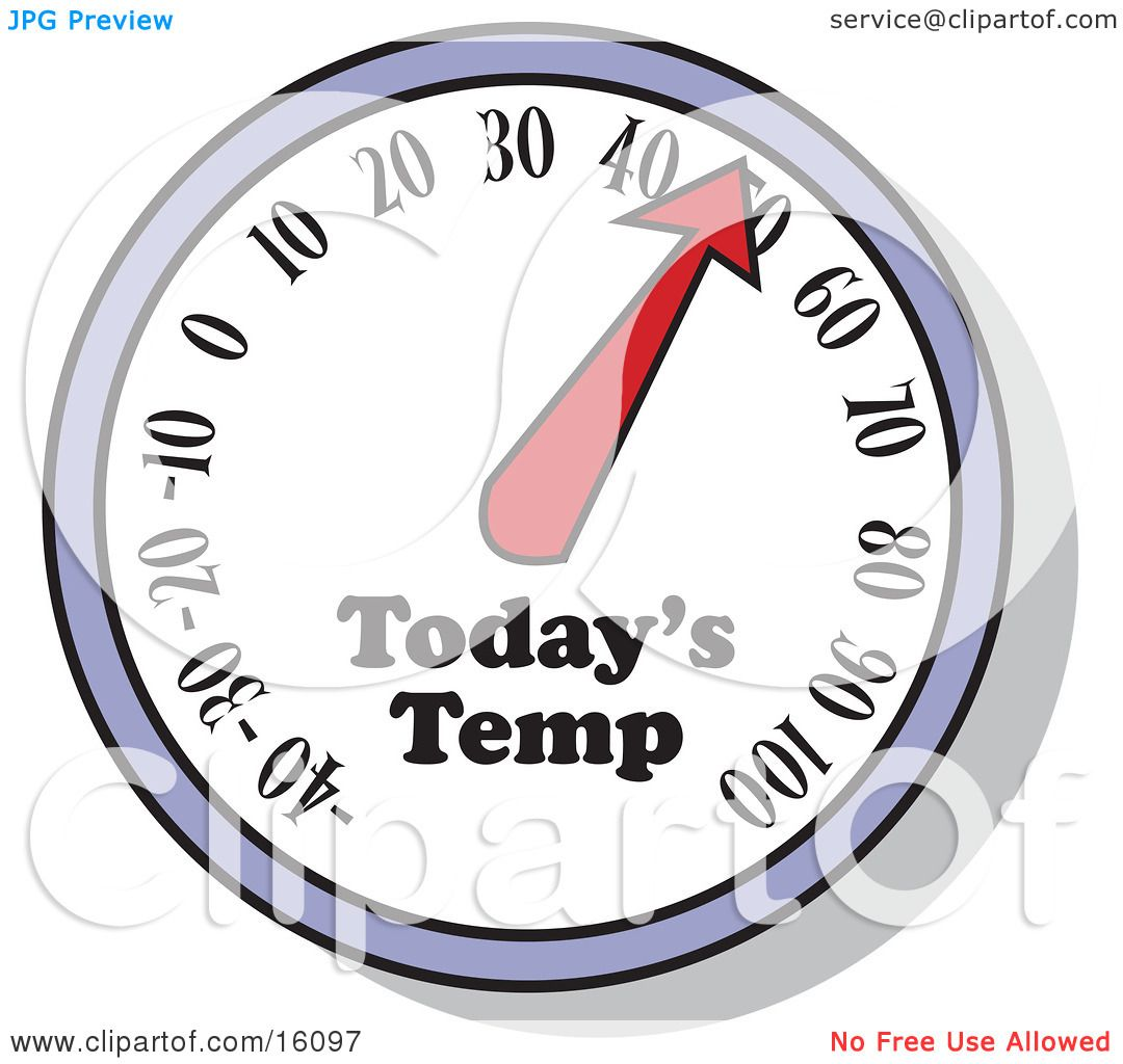 Thermometer Showing The Temperature For The Day Clipart.