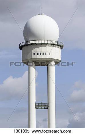 Stock Image of Air traffic control radar dome tower, Tempelhof.