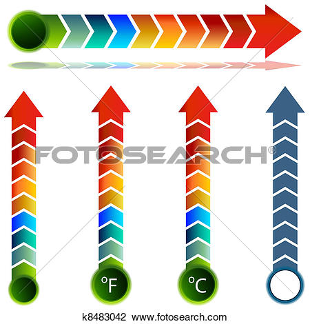 Clipart of Thermometer Temperature Arrow Set k8483042.