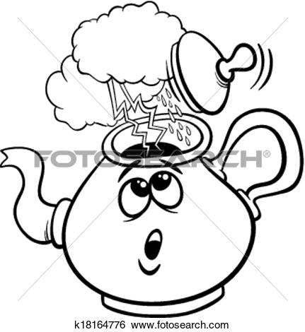 Clip Art of tempest in a teacup saying cartoon k18164776.