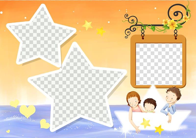Children on boat , Child Template Illustration, Pretty Star.