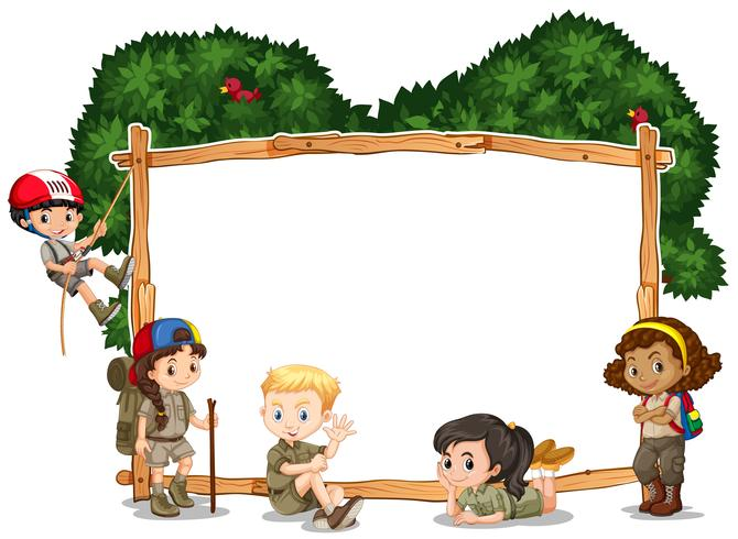 Frame template with kids camping in background.