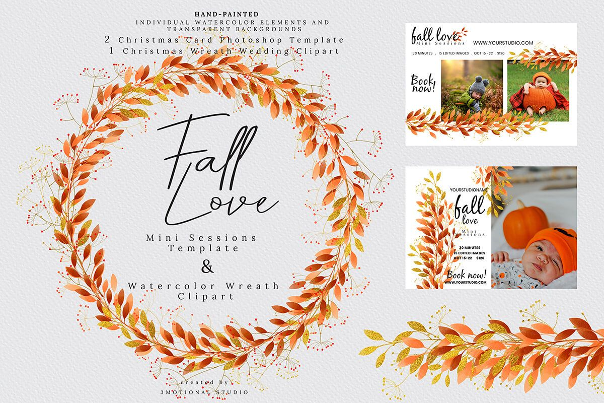 Fall Love Mini Sessions Template and Wreath Clip.