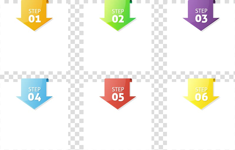 Six multicolored square chart, Infographic Arrow Template.