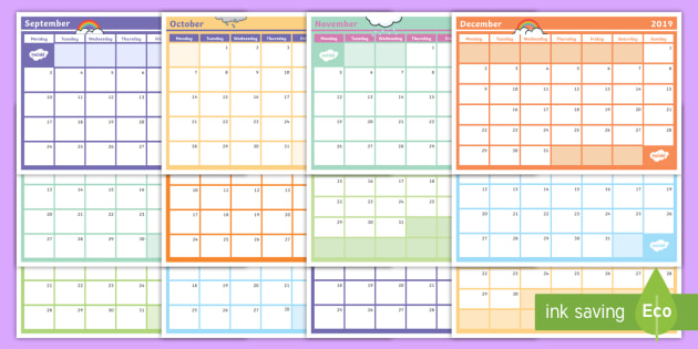 2019 Monthly Calendar Planning Template.