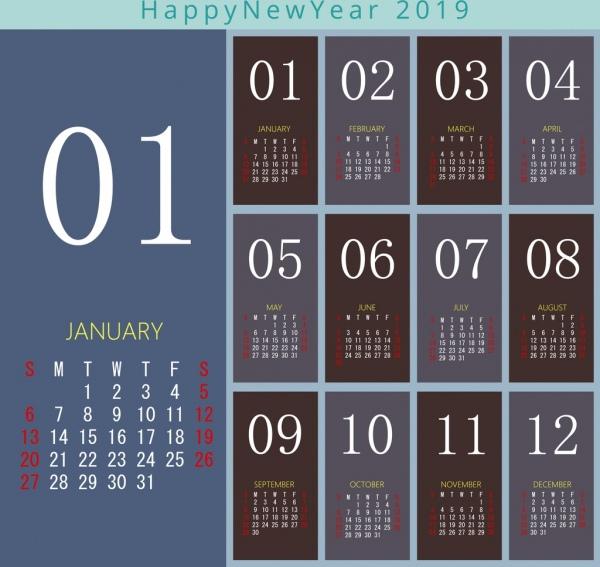 2019 calendar template modern design Free vector in Adobe.