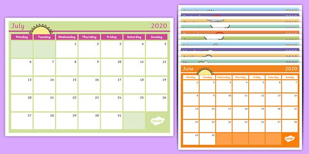 Academic Year Monthly Calendar 2019.