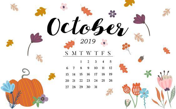 Cute October 2019 Calendar Template Ideas.