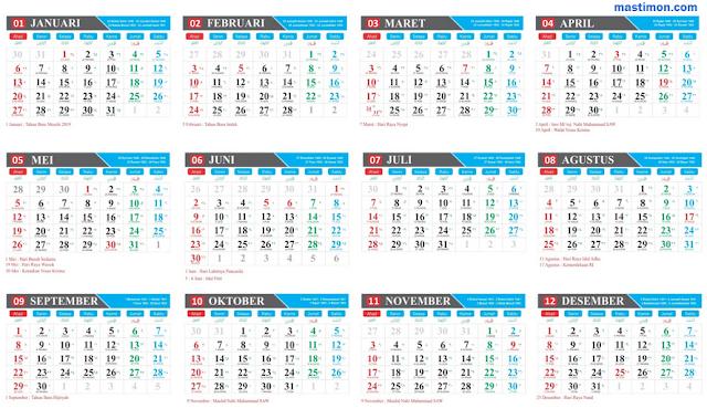 Template Kalender 2019 Vektor lengkap tanggal Hijriyah, Jawa.