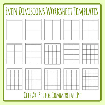 Even Divisions Worksheet Templates 1 Clip Art Set Commercial Use.