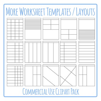 Worksheet Templates / Layouts Clip Art Pack for Commercial Use (2).