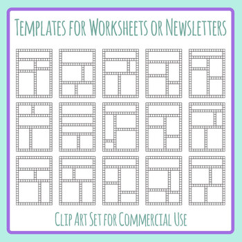 Grid Based Templates for Worksheets or Newsletters Blank Clip Art Set.