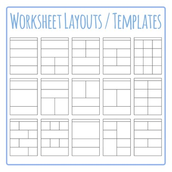 Worksheet Templates / Layouts Clip Art Pack for Commercial Use.