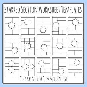 Starred Section Worksheet Templates Clip Art Set Commercial Use.