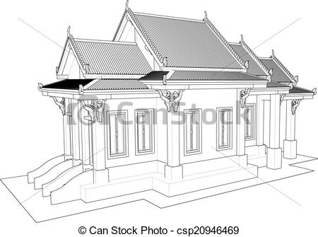 Clip Art Vector of Wat Thai. Temple in Thailand.