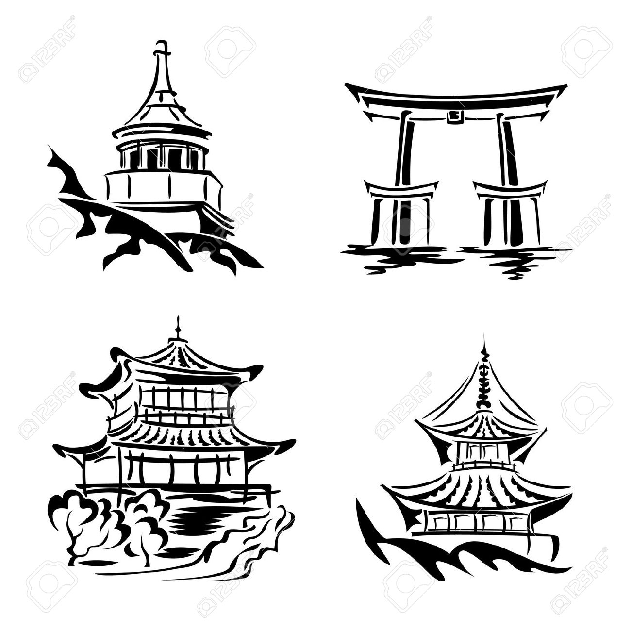 Black And White Images Asian Temples And Architecture Royalty Free.