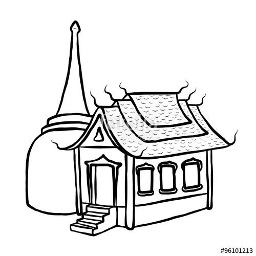 temple and pagoda / cartoon vector and illustration, black.