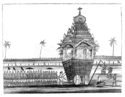 Indian Temple Car from 1867 Journal stock vectors.