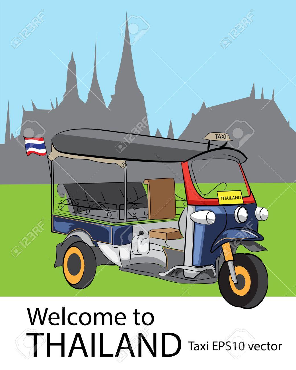 Tuk Tuk Car And Temple In Bangkok, Thailand Royalty Free Cliparts.