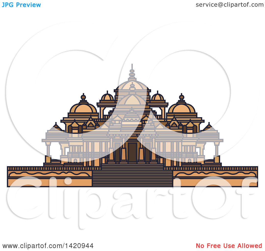 Clipart of a India Landmark, Swaminarayan Akshardham Temple.