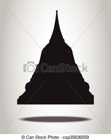 Clipart Vector of Thai Temple Silhouettes on the white background.
