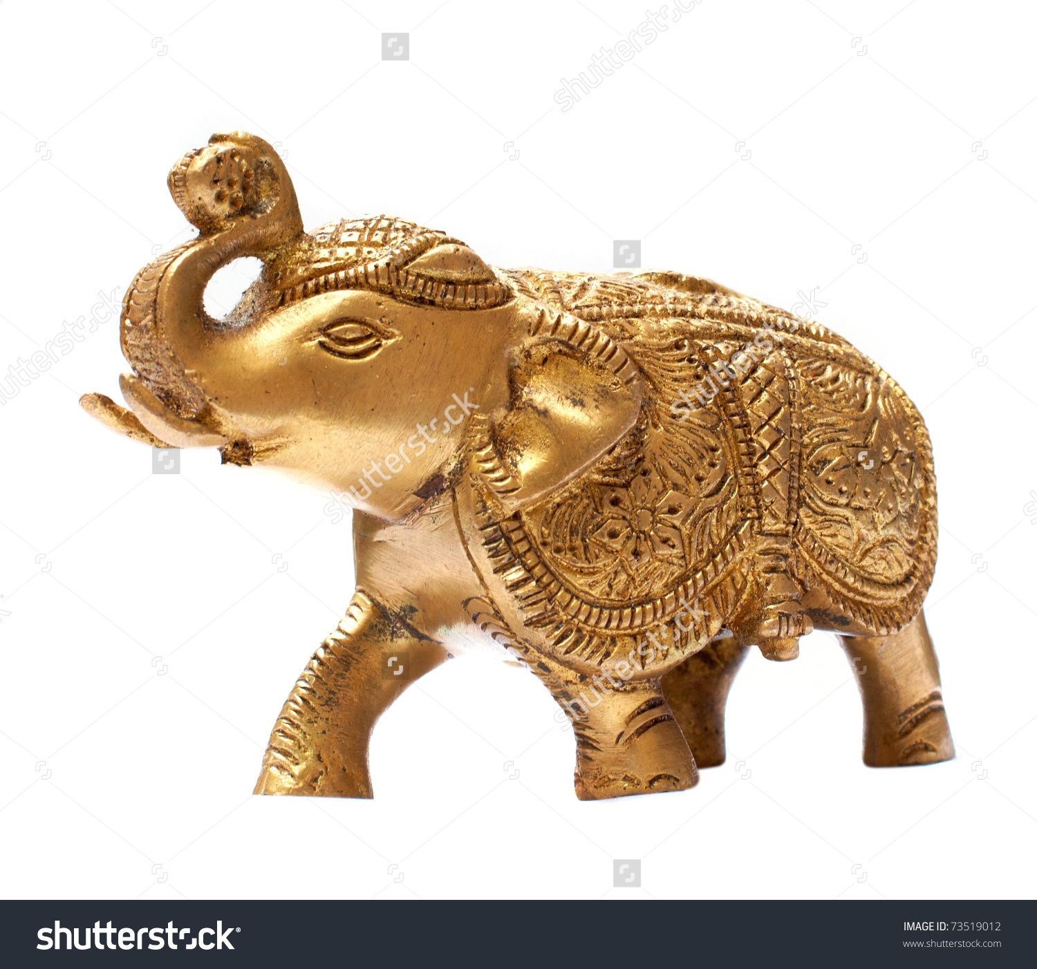 Decorative Golden Elephant Isolated Over White Stock Photo.
