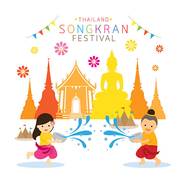 Songkran Festival, Kids Playing Water In Temple Clip Art, Vector.