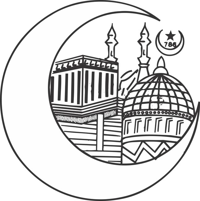 Indian temple clipart black and white.