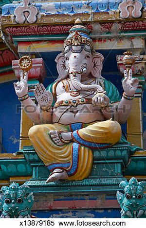 Stock Image of Singapore, Sri Mariamman Temple, ganesh carved.