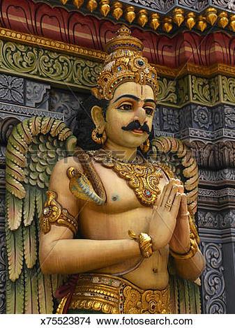 Stock Photo of Garuda figure on Sri Krishna Hindu Temple.
