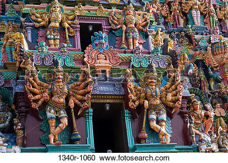 Stock Photography of Stucco figures of deities on a temple.