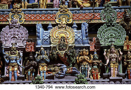 Stock Photo of Stucco figures on a tower of a temple.