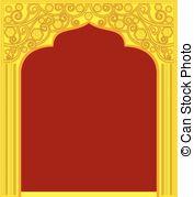 Golden temple door frame Clipart Vector Graphics. 14 Golden.