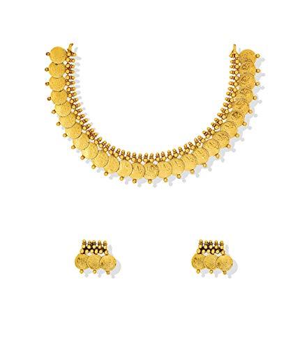 Buy Dhruvi Coin Kasu Ginni Temple Gold like Necklace Set.