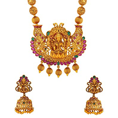 Voylla Southern Bling Temple Inspired Golden Brass Necklace Set for Women.