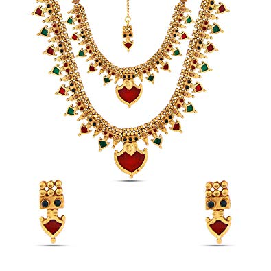 Buy Kalyani Covering Multi color Brass Half Bridal Set.