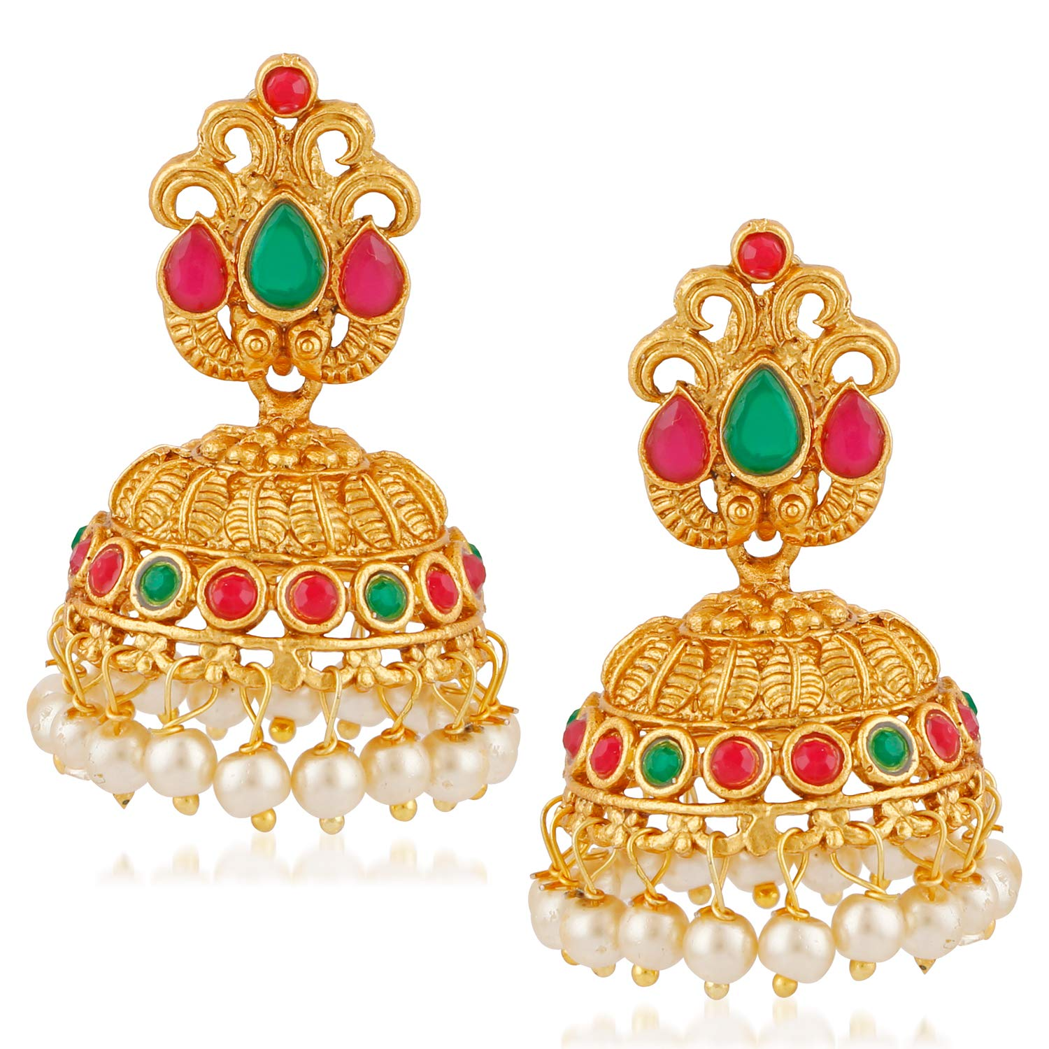 MEENAZ South Indian Temple Jewellery Sets Traditional Matte Gold Pearl Ruby  Green Jhumka/Jhumki Earrings for Women/Girls Stylish.