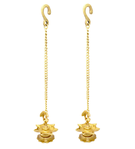 Details about Hindu Temple Hanging Oil Lamp Pair Peacock Brass Statue  Sculpture Puja Diya Gift.