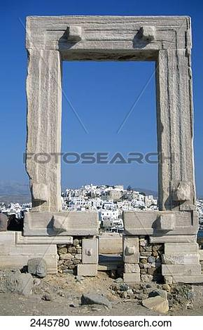 Stock Photography of Old ruins of Temple of Apollo, Portara, Naxos.