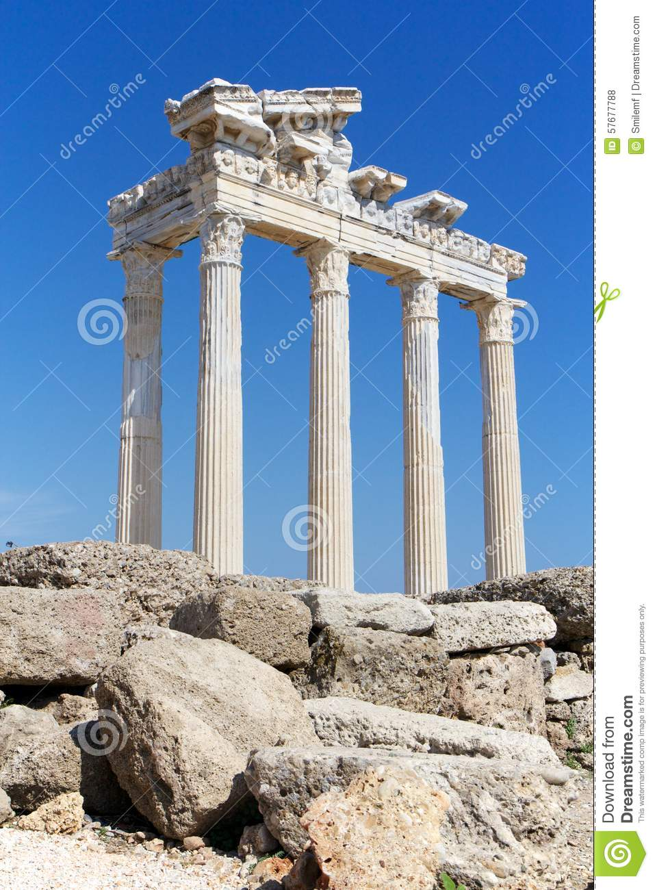 Ruins Of Temple Of Apollo In Side, Turkey Stock Photo.
