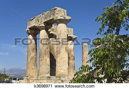 Stock Photography of Ancient Corinth, temple of Apollo, k3698971.