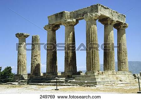 Stock Photograph of Ruins of pillars of Roman temple, Temple of.