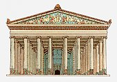 Illustration Of Facade Of The Temple Of Artemis In Ephesus Turkey.